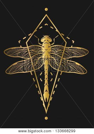 Dragonfly and geometric elements. Golden symbol on a dark background.