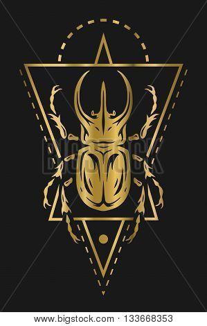 Rhinoceros beetle and geometric elements. Golden symbol on a dark background.