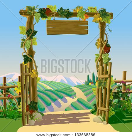 Old wooden farm gate with signboard, grapes and Mediterranean landscape with vineyards. Wine making concept frame and background. Wine label design
