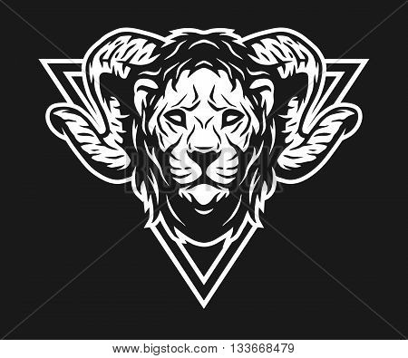 lion head with horns and geometric symbols. On dark background.
