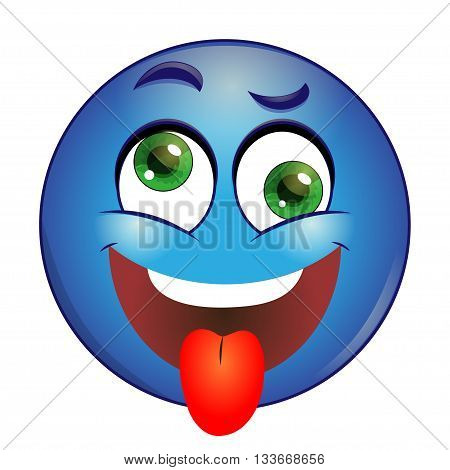 Crazy blue Smiley showing tongue on a white background