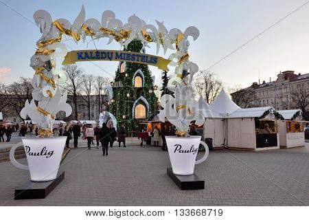 VILNIUS LITHUANIA - DECEMBER 16: view of the christmas tree in Vilnius on December 16 2015 in Vilnius Lithuania. In 1994 the Vilnius Old Town was included in the UNESCO World Heritage List.