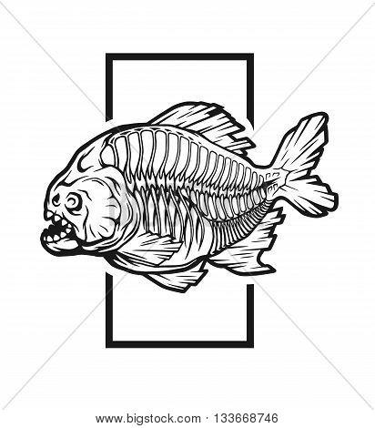 Skeleton piranhas on background of geometric elements.