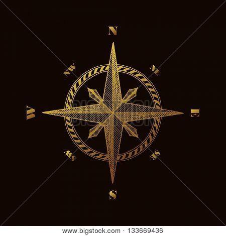 Hand drawn compass wind rose symbol. Gold traveller tool. Vintage illustration. Raster copy
