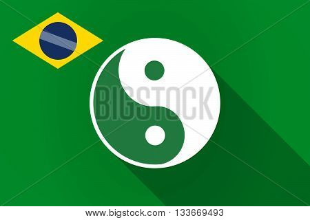 Long Shadow Brazil Flag With A Ying Yang