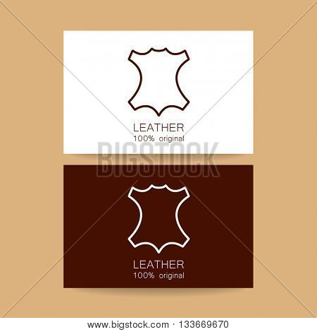Leather logo. Identity design. Card design template. Leather - 100% original. Template sign for the label, logo, advertising, products made of leather. Vector template.