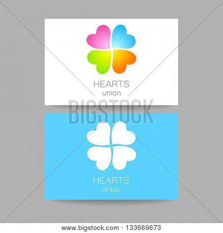 Heart union logo template. Quatrefoil of colored hearts. Idea for business corporate card design. Vector illustration.