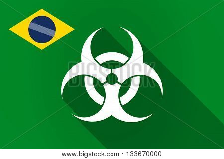 Long Shadow Brazil Flag With A Biohazard Sign