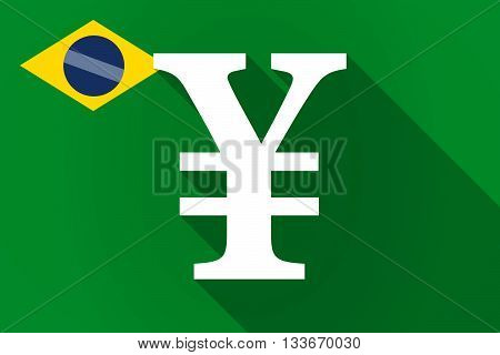 Long Shadow Brazil Flag With A Yen Sign
