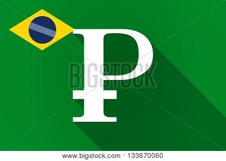 Long Shadow Brazil Flag With A Ruble Sign