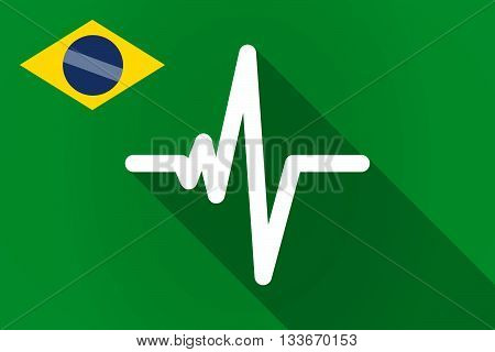 Long Shadow Brazil Flag With A Heart Beat Sign