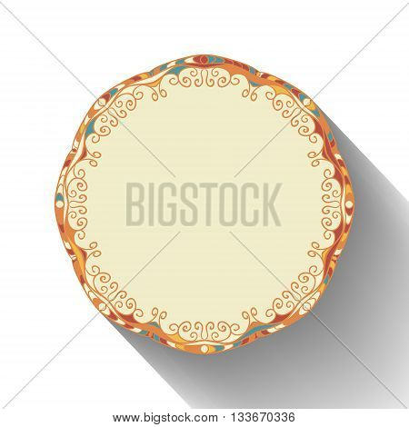 Round napkin template for your design. Ornamental circle frame