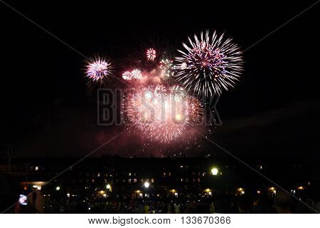 Labor Day Fireworks over Boston Harbor, Massachusetts, USA