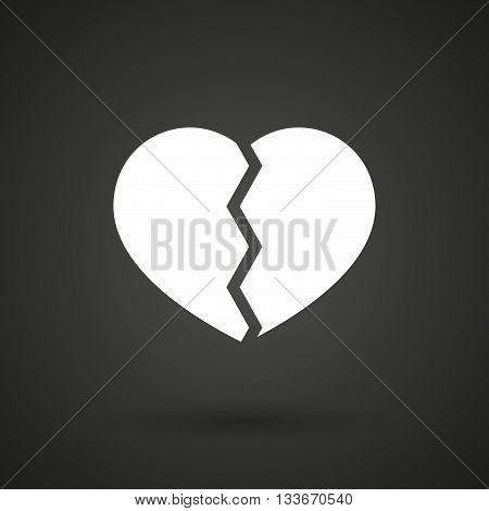 A Broken Heart    White Icon On A Dark  Background