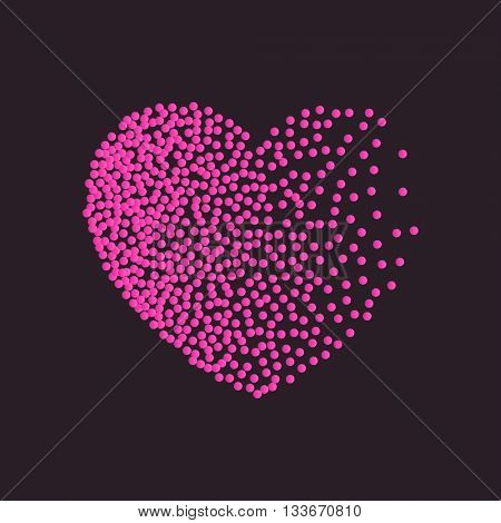 heart pink dots. Black red dots and confetti. Symbol and logo heart pixel. Winter Valentines day snow heart with dots of various size. New Year, Christmas black and pink background. Raster copy