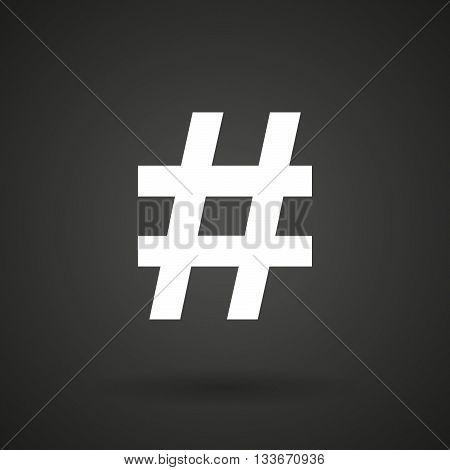 A Hash Tag    White Icon On A Dark  Background