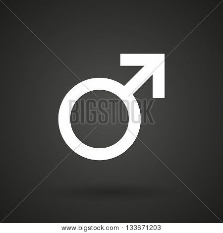 A Male Sign   White Icon On A Dark  Background
