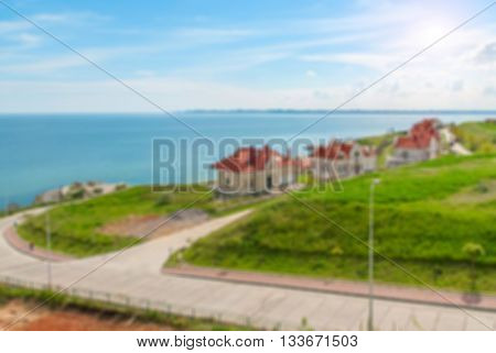 Defocused background with View of Odessa gulf, Ukraine. Intentionally blurred post production for bokeh effect.