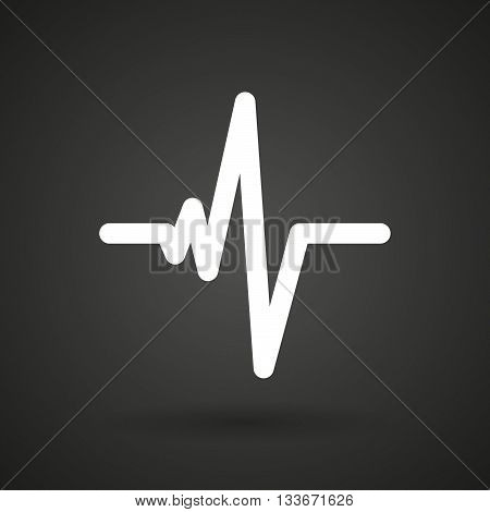 A Heart Beat Sign   White Icon On A Dark  Background