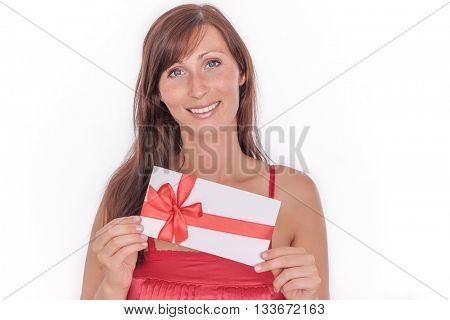 isolated woman holding present