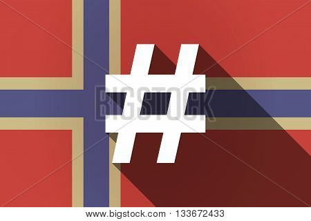 Long Shadow Norway Flag With A Hash Tag