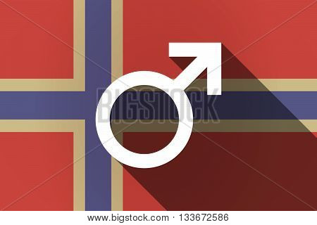 Long Shadow Norway Flag With A Male Sign