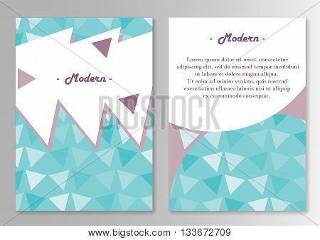 Vector broshure pages template. Pattern With Triangles Cold Colors. Vector illustration
