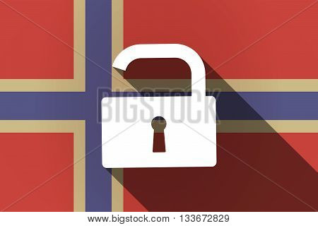 Long Shadow Norway Flag With An Open Lock Pad