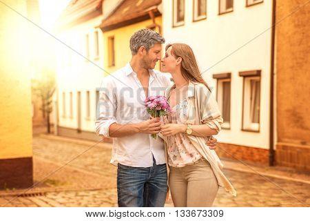 surprising girlfriend with bloom