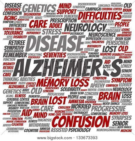 Concept conceptual Alzheimer`s disease symtoms abstract square word cloud isolated on background