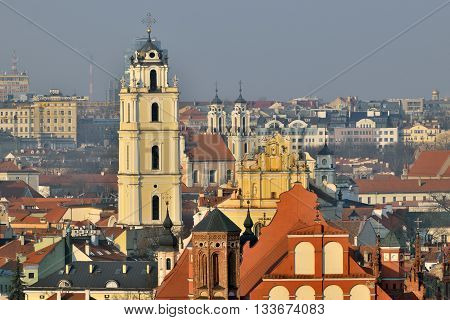 VILNIUS LITHUANIA - MARCH 20: The Old Town of Vilnius on March 20 2015 in Vilnius Lithuania. In 1994 the Vilnius Old Town was included in the UNESCO World Heritage List.