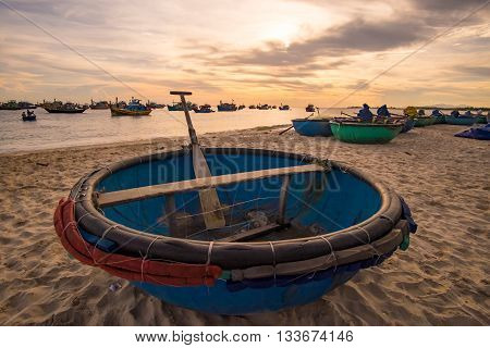 Basket boat in the morning. MUI KE GA, BINH THUAN, VIETNAM