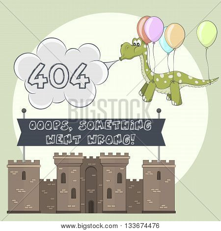 Error page 404 for web. Castle and dragon. Dinosaur flying with balloon. Stronghold with towers shows banner after failure attack of monster