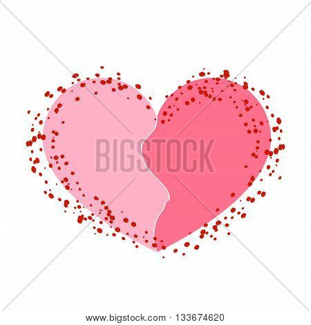 Halves heart icon. Two half puzzle. Broken shape sign isolated on white background. Beautiful symbol of heartache passion or Valentine day romantic love. Drawing brush grunge. Vector illustration