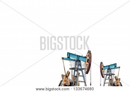 Oil pumps on white background. Isolation of oil pumps. Oil field.