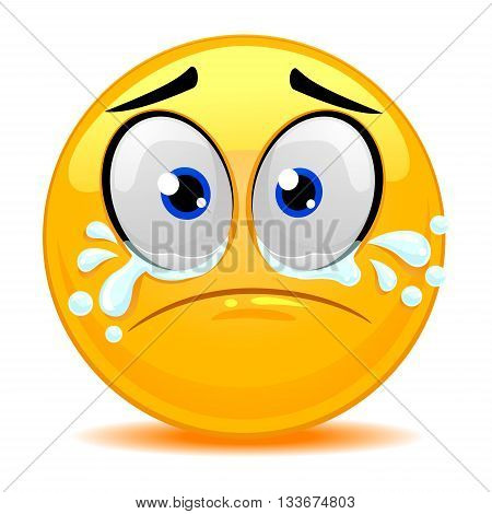 Vector Illustration of Smile Emoticon Crying Face