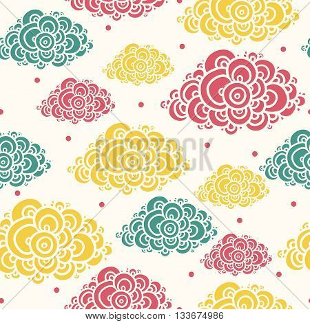 Seamless background with multi-colored clouds. Seamless abstract hand-drawn pattern.