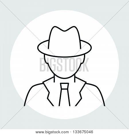 Detective avatar line icon. Spy glyph icon