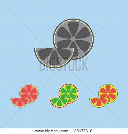 A lemon in section and a slice in outlines over a light blue background. Red green yellow and silver. Digital vector image.