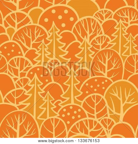 Seamless autumn background with trees. Seamless tree pattern with forest illustration.