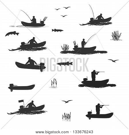 head coach of the club fishermen rides on a rubber boat with a motor. fisherman in a boat catches a fish , hunter shooting rifle set of silhouettes. totally vector illustration