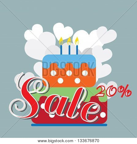 Card with a big colored cream cake and burning candles on top over a silver background with hearts and sale text. Digital vector image.