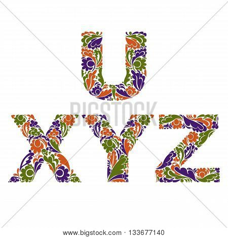 Stylish Script With Herbal Autumn Ornament. Beautiful Font With Floral Pattern, U, X, Y, Z.