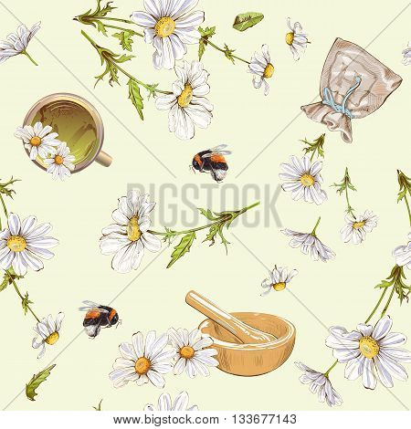 Vector herbal seamless pattern with chamomile flowers.