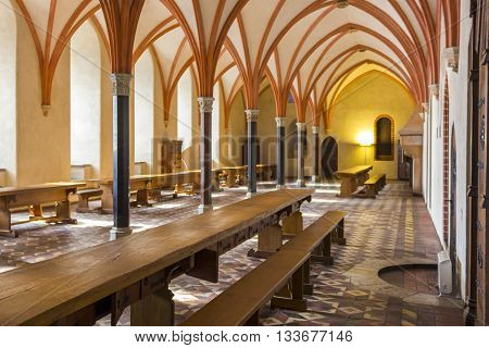 MALBORK, POLAND - SEPTEMBER 24: Dining room in the castle in Malbork on September 24, 2011 in Malbork.