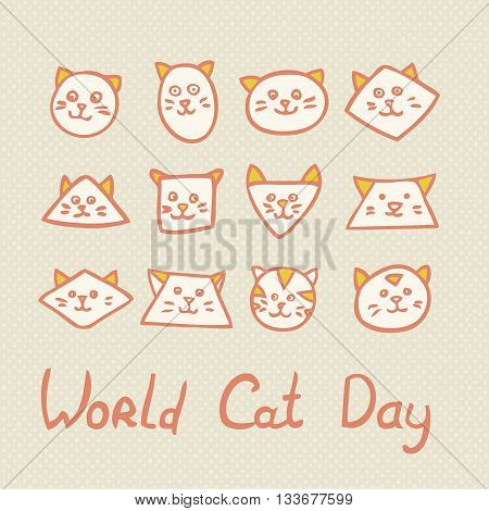 World Cat Day Card with funny cat muzzles on textured background. Vector illustration.