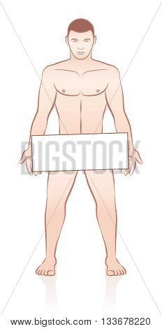 Naked young muscular man holding an empty signboard - outline comic vector on white background.