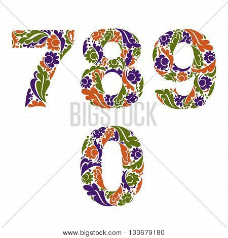 Ornamental Figures, Numbers Decorated With Herbal Pattern Isolated, 7, 8, 9, 0.