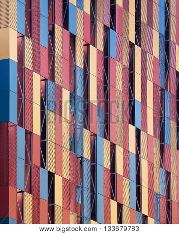 Abstract view of modern colorful facade wall