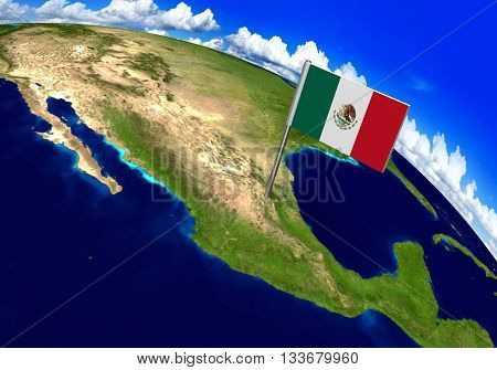Flag marker over country of Mexico on world map 3D rendering, parts of this image furnished by NASA